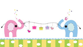 Cute elephants with gift box vector background. Happy birthday greeting card Stock Images
