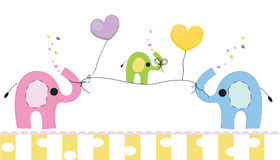 Cute elephants with gift box vector background. Happy birthday greeting card Stock Photography