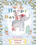 Cute Elephants illustrations. Set of birthday greeting cards, posters, prints. Watercolor beauty, Hand drawn colorful. Cute Elephants illustrations. Set of vector illustration