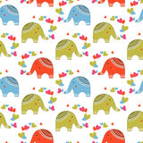 Cute elephants in love pattern Royalty Free Stock Photo