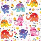 Cute elephants seamless pattern. Cute elephants,birds and flowers seamless pattern Stock Image
