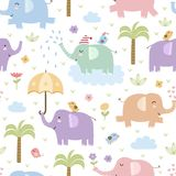 Cute elephants seamless pattern Royalty Free Stock Photos