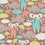 Cute elephants in the sky texture. Royalty Free Stock Image