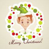 Cute elf christmas card. Vector illustration Royalty Free Stock Images