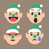 Cute Elf emoticon set for Christmas season, happy, wow, angry, cry. Vector illustrator Royalty Free Stock Image
