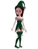 Cute elf girl. 3D render of a cute elf girl in a green outfit Royalty Free Stock Photo