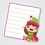Cute elf girl with Xmas gift bag on red frame  cartoon illustration for Christmas card design. Wallpaper and greeting card Stock Photos