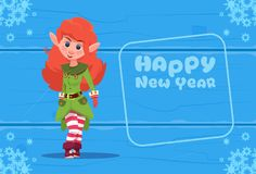 Cute Elf On Happy New Year Greeting Card Christmas Holiday Concept. Flat Vector Illustration Royalty Free Stock Images