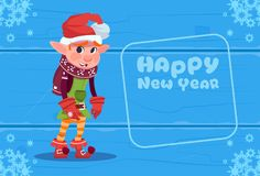 Cute Elf On Happy New Year Greeting Card Christmas Holiday Concept. Flat Vector Illustration Royalty Free Stock Image