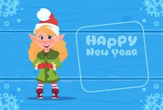 Cute Elf On Happy New Year Greeting Card Christmas Holiday Concept. Flat Vector Illustration Royalty Free Stock Photo