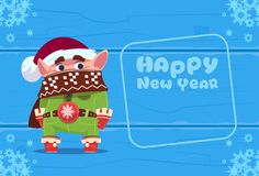 Cute Elf On Happy New Year Greeting Card Christmas Holiday Concept. Flat Vector Illustration Stock Image