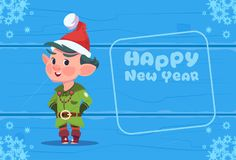 Cute Elf On Happy New Year Greeting Card Christmas Holiday Concept. Flat Vector Illustration Royalty Free Stock Photography