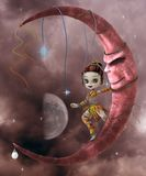Cute elf on the moon Royalty Free Stock Photography