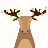 Cute elk. Cute Christmas Elk with garland on the horns.Vector illustration Stock Image