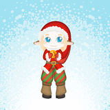 Cute and embarrassed Christmas deer-elf. Royalty Free Stock Photos