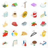 Cute emblem icons set, isometric style. Cute emblem icons set. Isometric set of 25 cute emblem vector icons for web isolated on white background Royalty Free Stock Photography