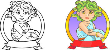 Cute emblem which depicts a mythical Medusa. Emblem which depicts a mythical Medusa Stock Images