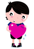 Cute Emo Boy holding heart. Trendy Emo Boy with pink heart. Vector illustration Stock Photo