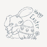 Cute Emo Easter bunny for holiday card, baby shower or easter card. Royalty Free Stock Photos