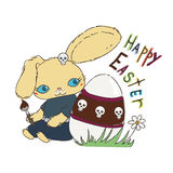 Cute Emo Easter bunny for holiday card, baby shower or easter card. Royalty Free Stock Photo