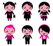 Cute emo kids collection Stock Photography