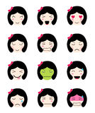 Cute emoji collection. Kawaii asian girl face different moods Royalty Free Stock Photography