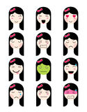 Cute emoji collection. Kawaii asian girl face different moods Royalty Free Stock Photos