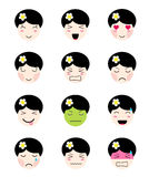 Cute emoji collection. Kawaii asian girl face different moods. Cute emoji collection. Kawaii asian girl face. Set of flat emoticon in anime style. Isolated Stock Image