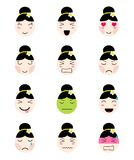Cute emoji collection. Kawaii asian girl face different moods. Cute emoji collection. Kawaii asian girl face. Set of flat emoticon in anime style. Isolated thai Stock Photography
