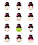 Cute emoji collection. Kawaii asian girl face different moods Royalty Free Stock Images