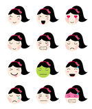 Cute emoji collection. Kawaii asian girl face different moods. Cute emoji collection. Kawaii asian girl face. Set of flat emoticon in anime style.  japanese girl Royalty Free Stock Image