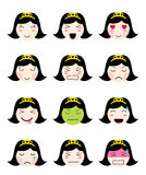 Cute emoji collection. Kawaii asian girl face different moods. Cute emoji collection. Kawaii asian girl face. Set of flat emoticon in anime style.  japanese girl Royalty Free Stock Images