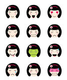 Cute emoji collection. Kawaii asian girl face different moods. Cute emoji collection. Kawaii asian girl face. Set of flat emoticon in anime style.  japanese girl Stock Images