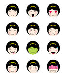 Cute emoji collection. Kawaii asian girl face different moods. Cute emoji collection. Kawaii asian girl face. Set of flat emoticon in anime style.  japanese girl Stock Photos