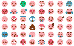 48 Cute Emoticon Pack Collection. Cute Emoticon Set in Modern Flat Style Stock Photos