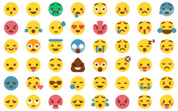 48 Cute Emoticon Pack Collection. Cute Emoticon Set in Modern Flat Style Stock Images
