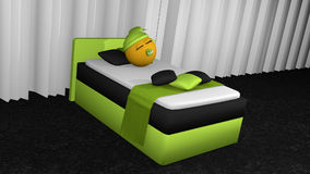 Cute emoticon is sleeping in the apple-green box spring. Cute emoticon with sleeping cap and pacifier is sleeping in the apple-green box spring. 3d rendering royalty free illustration