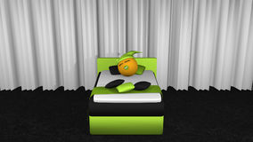 Cute emoticon with sleeping sleeps in the apple-green box spring. Cute emoticon with sleeping cap and pacifier is sleeping in the apple-green box spring. Front royalty free illustration