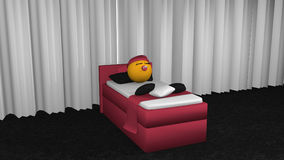 Cute emoticon sleeps in the blackberry box spring. Cute emoticon with sleeping cap and pacifier sleeping in the blackberry box spring. 3d rendering stock illustration