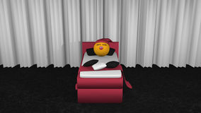 Cute emoticon with sleeps in the blackberry box spring. Cute emoticon with sleeping cap and pacifier sleeping in the blackberry box spring. View from front.3d stock illustration