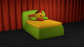 Cute emoticon sleeps in the green box spring. Bed with pillow on black carpet floor in front of red curtain. 3d rendering royalty free illustration