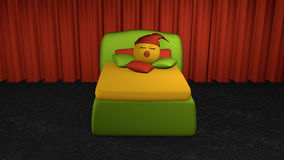 Cute emoticon sleeps in the green boxspring bed from the front v. Iew. Bed with pillow on black carpet floor in front of red curtain. 3d rendering vector illustration