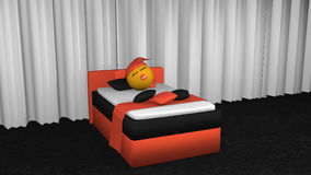 Cute emoticon sleeps in orange-black box spring. 3d rendering. Cute emoticon with sleeping cap and pacifier sleeping in the orange black box spring. 3d rendering Stock Photos