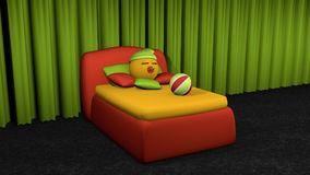 Cute emoticon sleeps in red box spring. Bed with pillow and softball on black carpet floor in front of green curtain. 3d rendering vector illustration