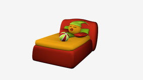 Cute emoticon sleeps in the red boxspring bed. 3d rendering isolated on white stock illustration