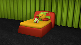 Cute emoticon sleeps in red boxspring bed. Bed with pillow and softball on black carpet floor in front of green curtain. 3d rendering vector illustration