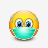 Cute emoticon wearing medical mask - emoji - vector illustration Stock Photo