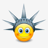 Cute emoticon wearing Statue of Liberty crown - New York - emoji - smiley - vector illustration Royalty Free Stock Image