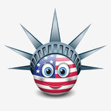 Cute emoticon wearing Statue of Liberty crown - New York - emoji - smiley - vector illustration Stock Photos