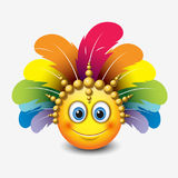 Cute emoticon  on white background with carnival headdress motive - smiley - vector illustration Stock Photo